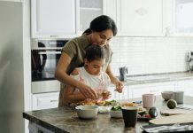 Mother and daughter in kitchen preping meal photo by August de Richelieu pexels photo 4259707