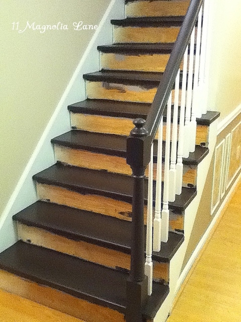 Stair Redo With Painted Treads And Beadboard Risers 11 | Redoing Stairs With Wood