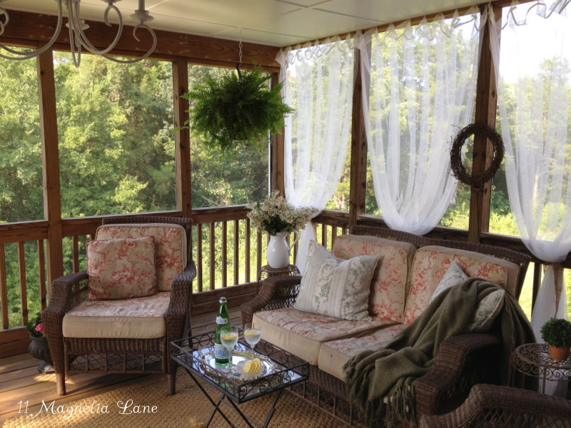 Inexpensive sheer curtains add privacy to screened porch   11     screened porch sheer curtains