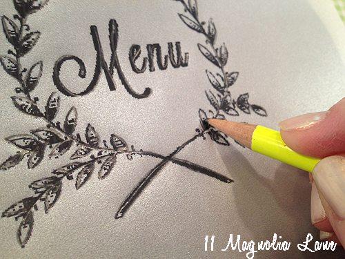 menu writing with pencil