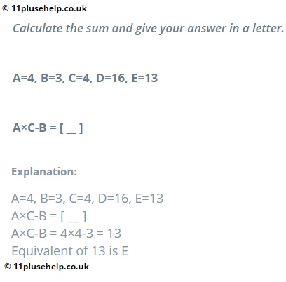 Verbal Reasoning Example Problem from 11 plus practice paper