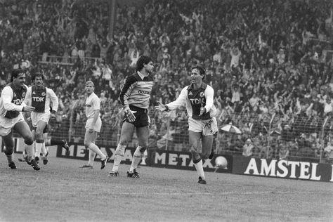 Van Basten celebrates his goal for Ajax against Feyenoord in 1983