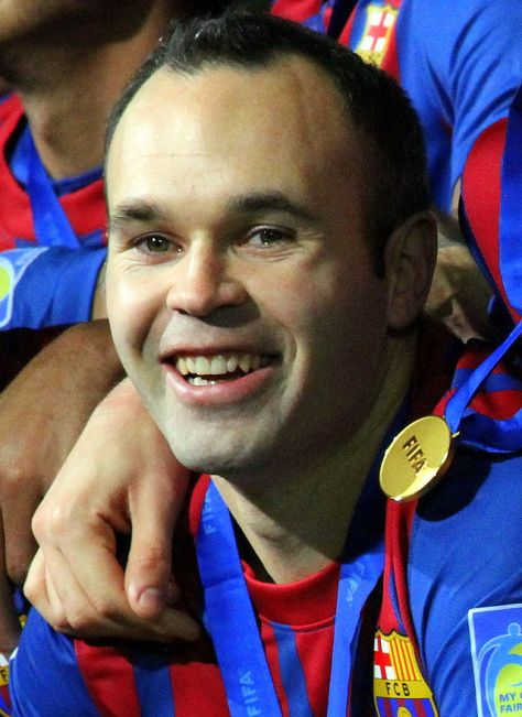Iniesta after Barcelona beat Santos in the final of the 2011 FIFA Club World Cup.