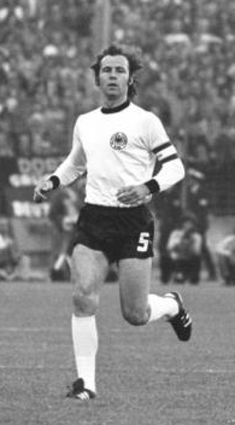 Beckenbauer captaining West Germany at the 1974 FIFA World Cup.
