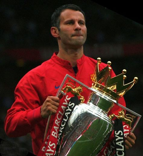 Ryan Giggs lifting the Premier League trophy