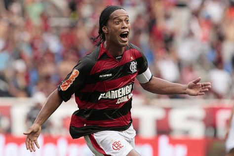 Ronaldinho celebrates scoring for Flamengo in February 2011