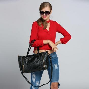Black Retro Women Office Quilted Shoulder Tote Bag Handbag