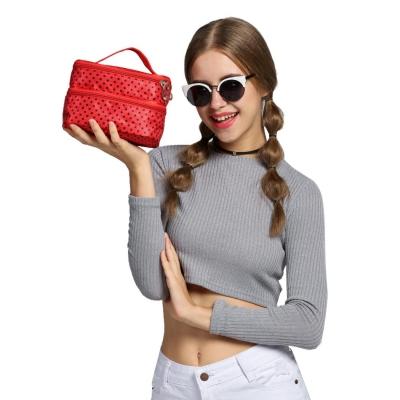 Black rose red Portable Double-Deck Toiletry Dot Pattern Makeup Bag