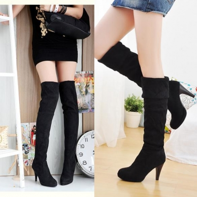 Brown Sexy Women Over Knee Faux Suede Stretch Thigh High Slouchy high Heel Shoe Boots