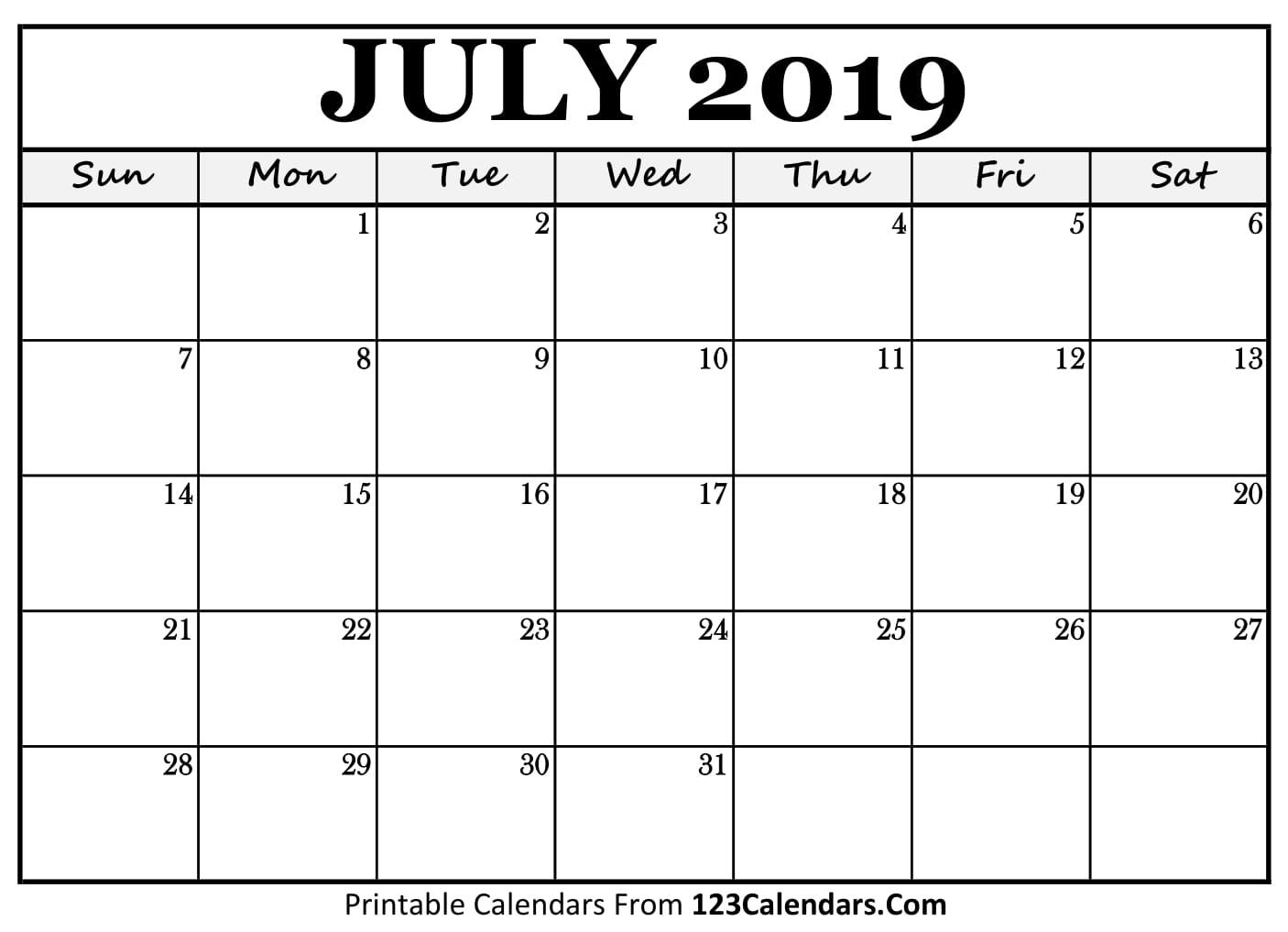 Free 5 July Calendar Printable Template