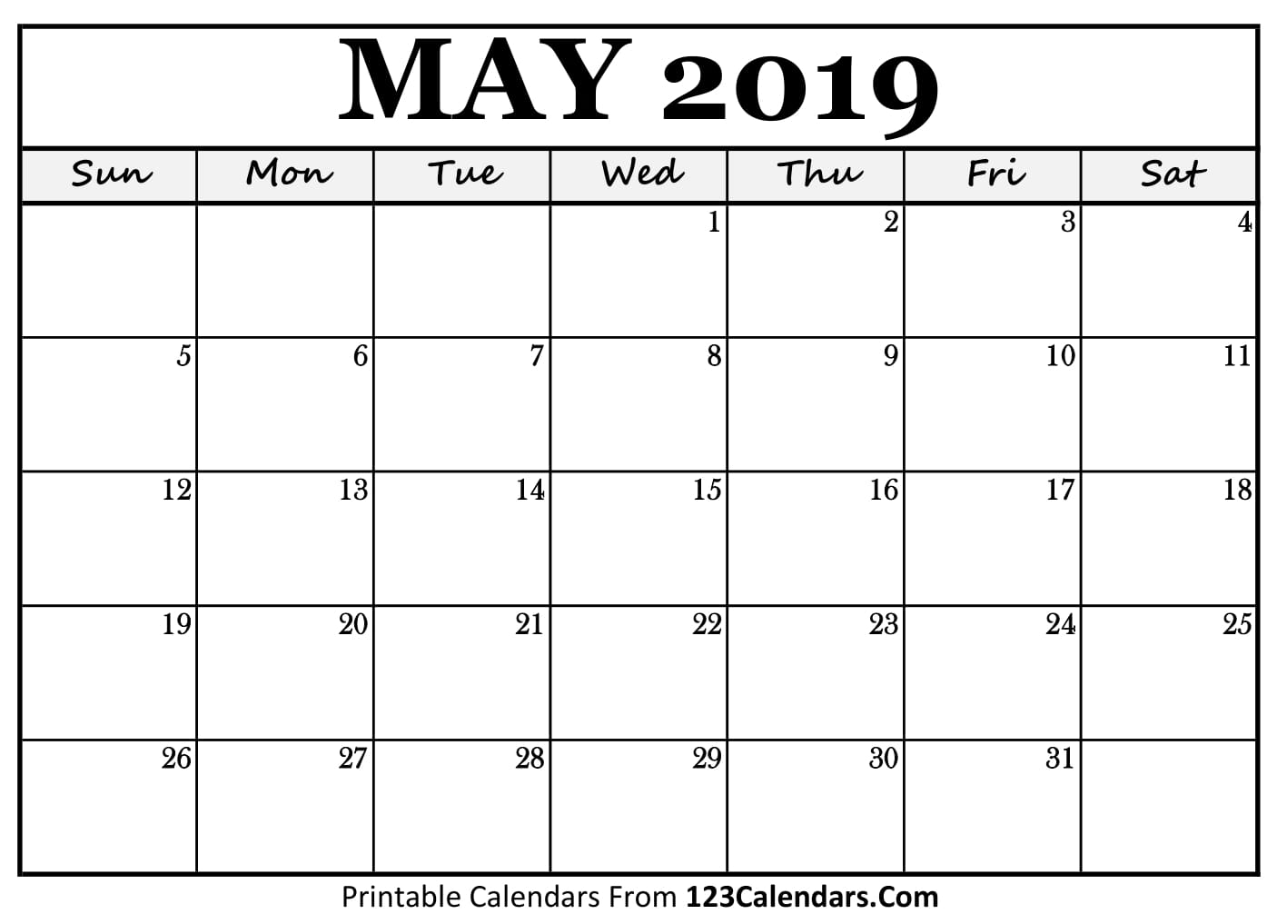 May Calendar Blank