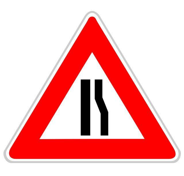 Panneau chaussée rétrécie droite