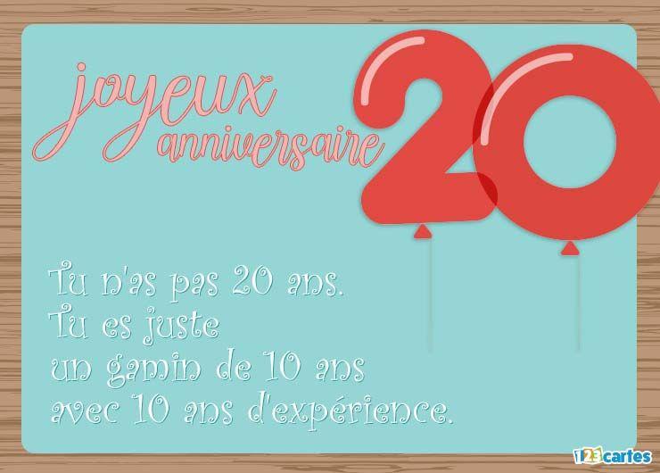 19 Cartes Joyeux Anniversaire Age 20 Ans Gratuits 123 Cartes