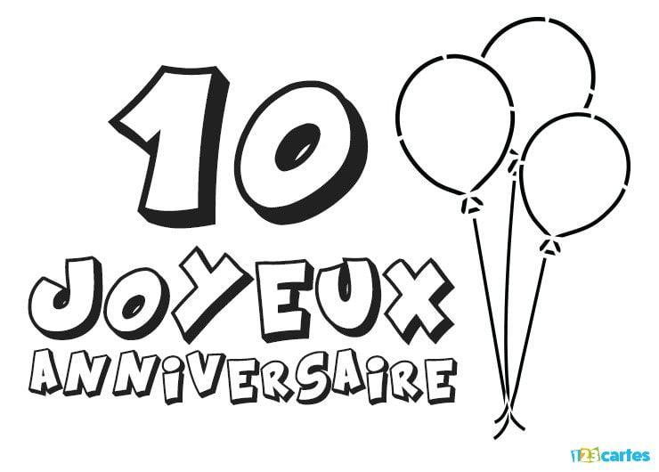 16 Cartes Joyeux Anniversaire âge 10 Ans Gratuits 123 Cartes