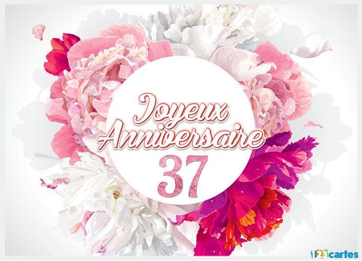 carte anniversaire 37 ans bouquet aquarelle