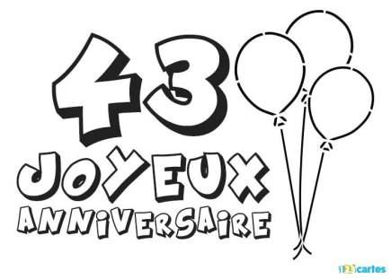carte anniversaire 43 ans coloriage ballons