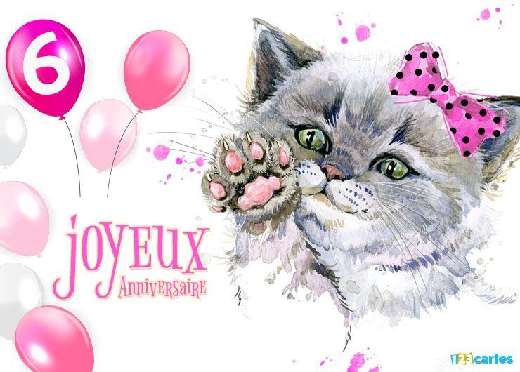 16 Cartes Joyeux Anniversaire âge 6 Ans Gratuits 123 Cartes