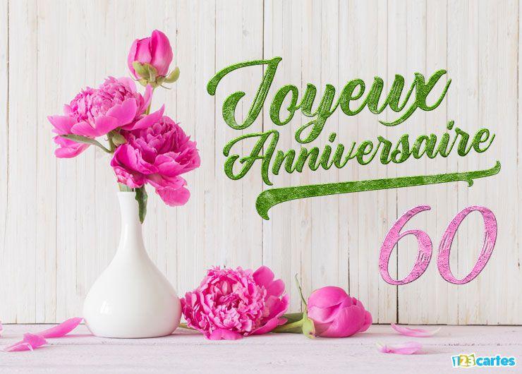 16 Cartes Joyeux Anniversaire âge 60 Ans Gratuits 123 Cartes