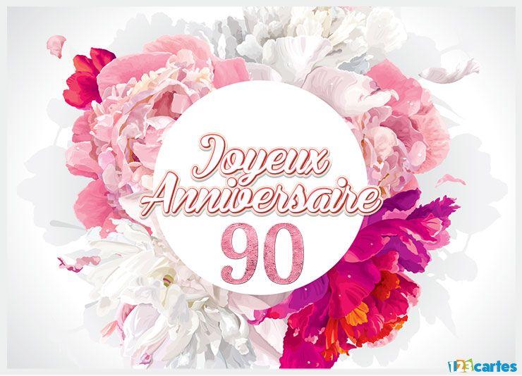 16 Cartes Joyeux Anniversaire âge 90 Ans Gratuits 123 Cartes