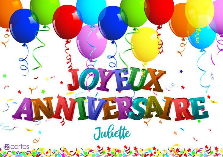 12 Cartes Anniversaire Avec Le Prénom Juliette 123cartes