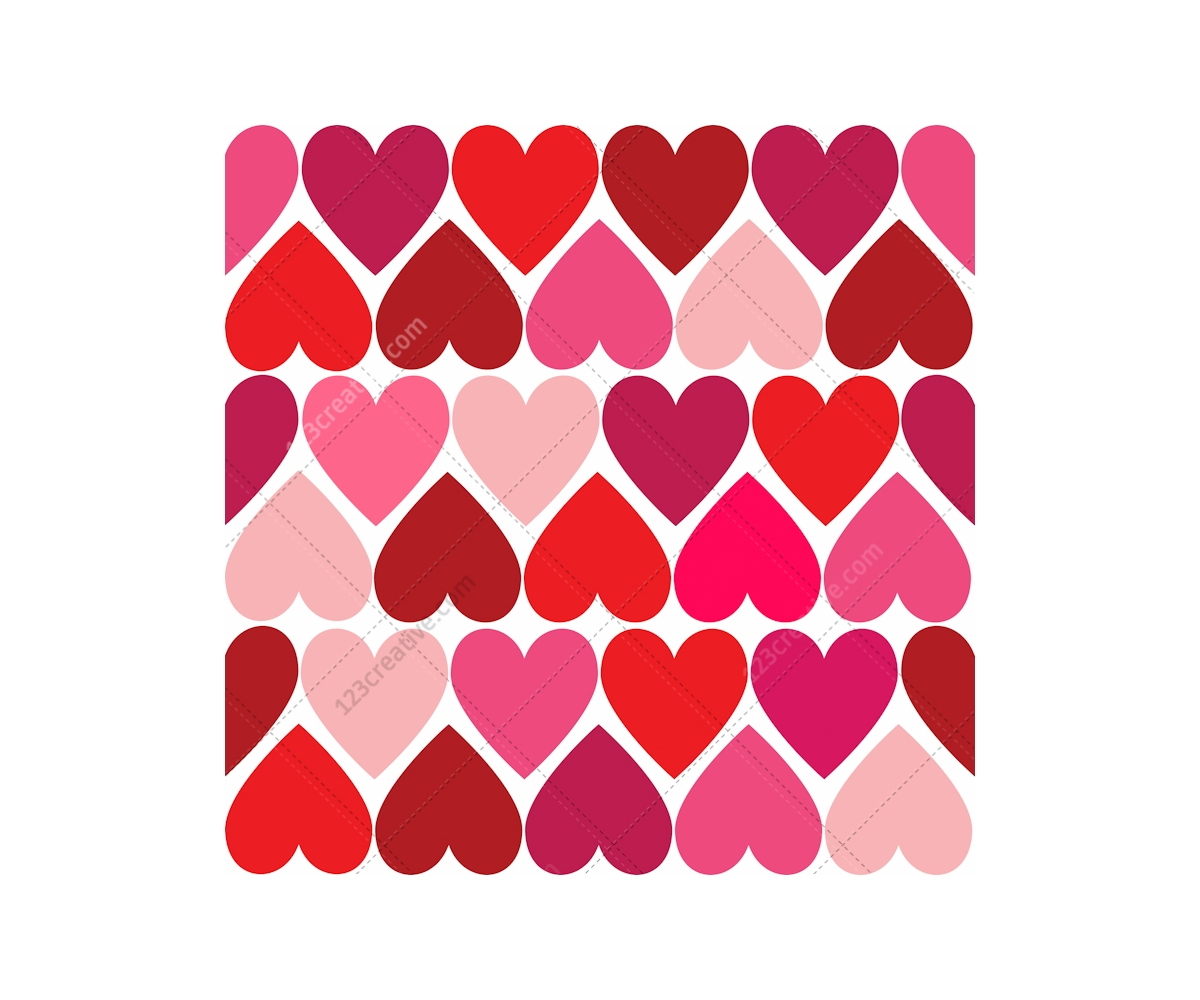 Valentine Cards And Patterns With Hearts In Many Colours