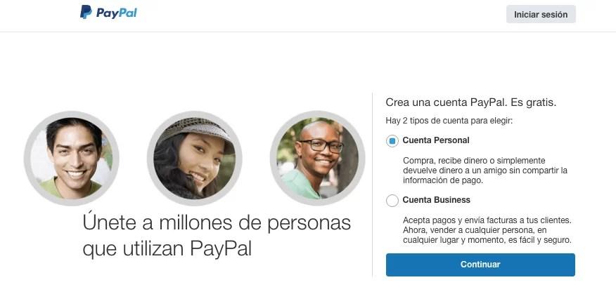 Como crear una cuenta: Cuenta personal