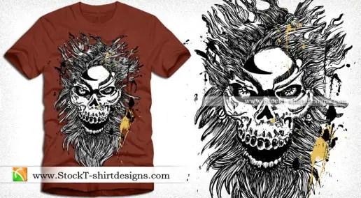 Vector T-shirt Design with Horror Skull