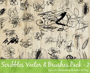 Scribble Vector and Photoshop Brushes Pack-2