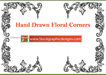 Hand Drawn Flower Corners Vector and Photoshop Brush
