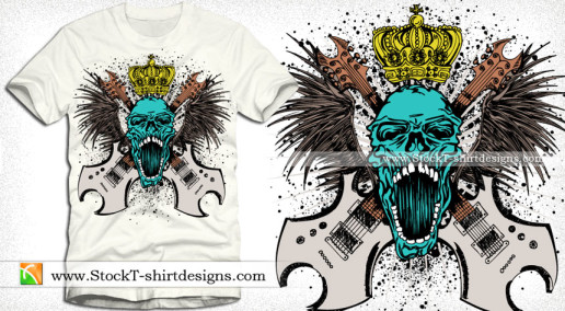 Rock Music Skull with Guitars Wings and Crown Vector Art T-shirt