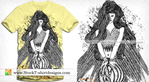 Vector T-shirt Design with Winged Woman