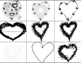 Scribble Heart Brushes Free
