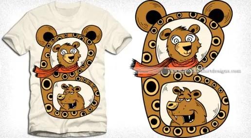 B is for Bear Cartoon Vector T-shirt Design