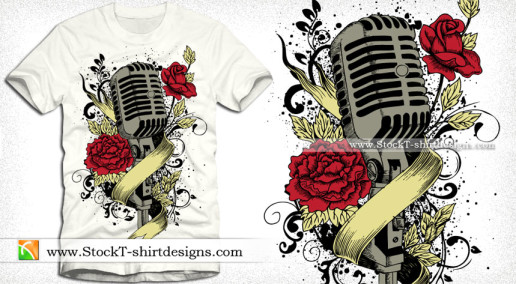 Music Vector T-shirt Graphics with Microphone Flowers and Ribbon