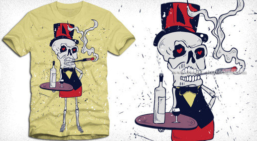 Halloween Skeleton Bar Server Vector T-shirt Design