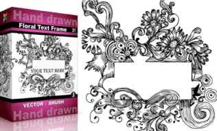 Hand Drawn Floral Text Frame Set.4 | Vol : 3
