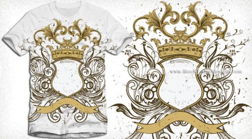 Heraldic Shield with Floral Ornaments and Crown Vector T-shirt Design