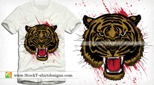 Vector Tee Graphics Design with Tiger