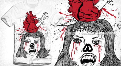 Devil Girl with Bleeding Heart Pierced by Knife Vector Tee Shirt Design