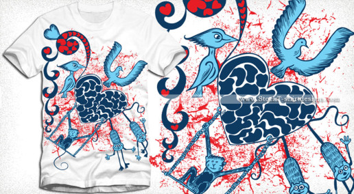 Cute Monkeys Playing on a Heart with Birds Vector Tee Shirt Design