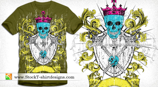 Vector Illustration of Heraldic Shield with Skull Tee Design