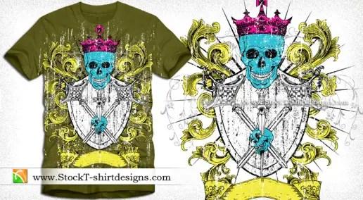 Vector Illustration of Heraldic Shield with Skull Tee Design
