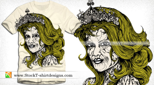 Vector T-shirt Design with Vintage Victorian Women