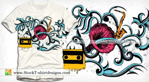 Vector T-shirt Illustration with Gramophone Floral and Cassette