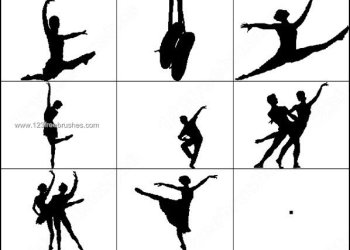 Ballet Dancer Silhouettes Brushes Photoshop