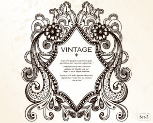 Vintage Heraldic Shield with Floral Ornament Vector Set-3