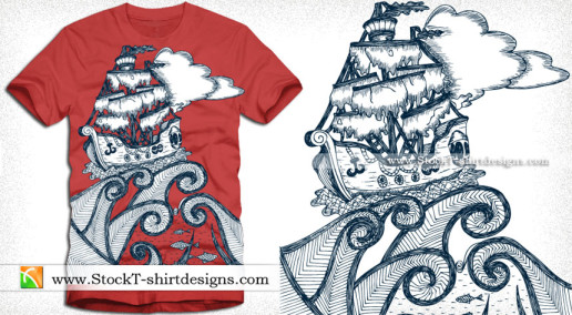 Pirate Ship Vector T-shirt Design