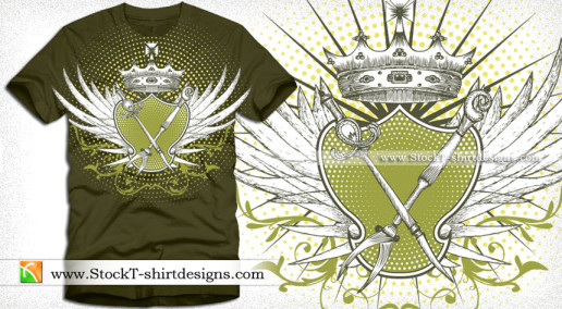 Vector Illustration of Winged Shield with a Crown T-shirt Design