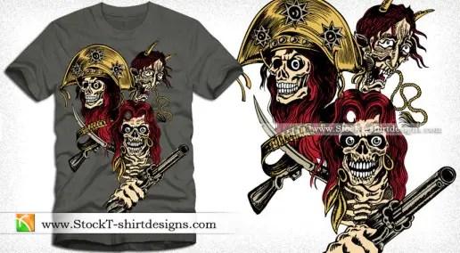 Vector T-shirt Design with Skull Gun and Demon Face
