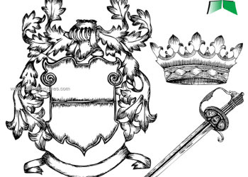 Hand Drawn Coat of Arms with Shield – Crown – Sword